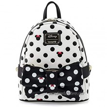 Disney Minnie Mouse Black and White Polka Dot Mini Shoulder Bag with Removable Waist Purse  8.44 X 12.3 Inches