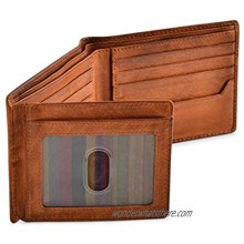 RFID Blocking Bifold Wallets for Men  Brown Full Grain Leather Credit Card Wallet with 2 ID Windows Premium Security and High Capacity