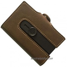 Leather Auto Pop-up Card Holder Slim Wallet for Men&Women  Boshiho RFID Blocking Crazy Horse Leather Card Case Minimalist Wallet (Brown)